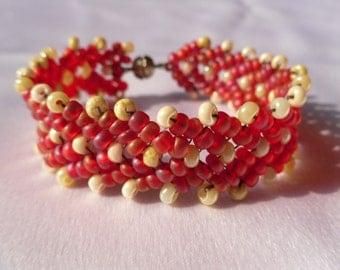 Handmade Dark Pink and Cream Beaded Bracelet