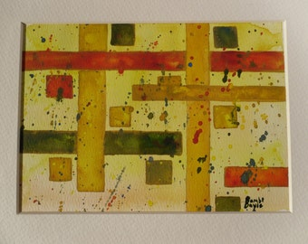 Yellow, Red and Green Squares and Rectangles--Geometric Abstract Watercolor Painting