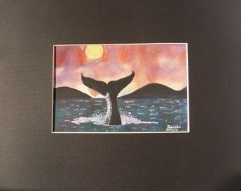 Black, Blue, Pink and Yellow, Whale, Islands, Water, Ocean Sunset Watercolor Painting