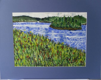 Prairie, Field, Flowers, Water, Landscape Watercolor Painting--Lonely Island