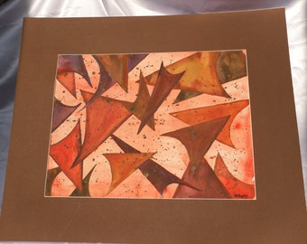 Red, Pink, Yellow, Orange, Abstract Triangle Watercolor Painting--Star Trek Reference--Redshirts