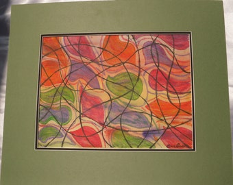 Amoebas, Purple, Green, Orange, Pink, Red, Black, Abstract Watercolor Painting--Synapse