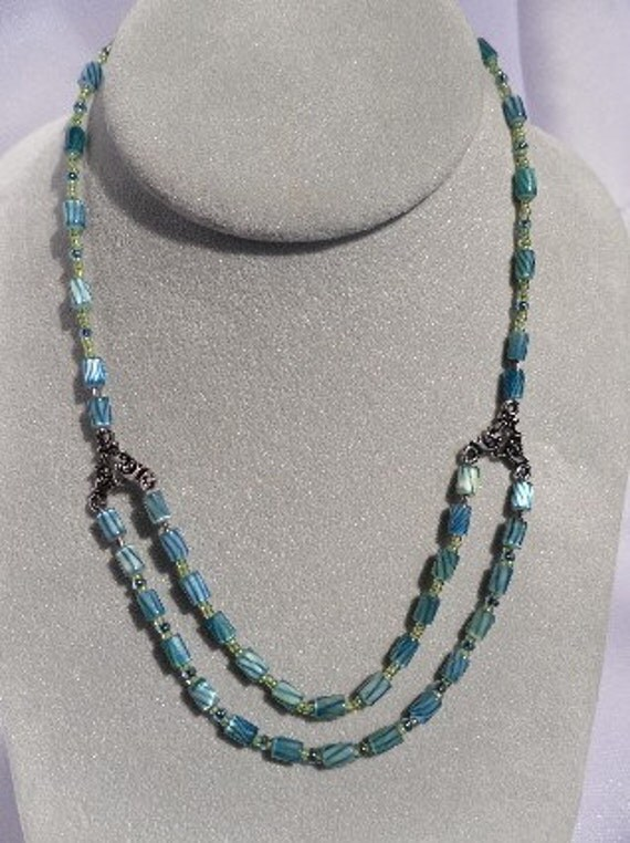 Green and Blue Beaded Cane Glass Choker