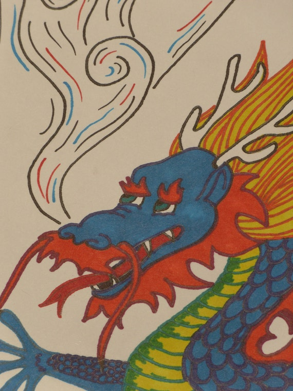 Red, Blue and Yellow Asian Dragon Drawing