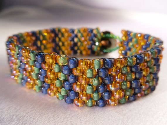 Blue, Green and Gold Peyote Stitch Bracelet with Floral Metal Button Clasp