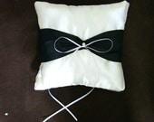 custom made white black satin personlised ring bearer pillow