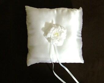 custom made white satin flower ring bearer pillow