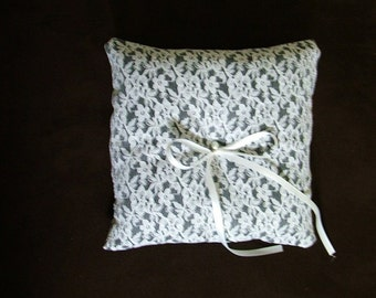 custom made white lace on black personlised ring bearer pillow