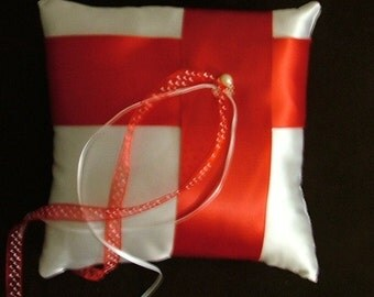 custom made white red satin ring bearer pillow