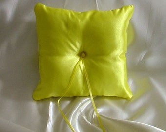 ring bearer pillow custom made bright yellow satin