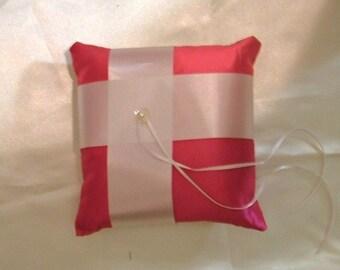 custom made white bright pink satin ring bearer pillow