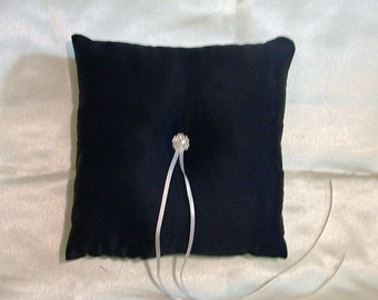 custom made very dark midnight blue ring bearer pillow
