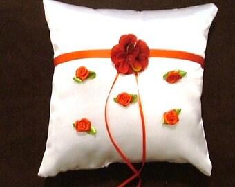 custom made white satin ring bearer pillow with red flowers