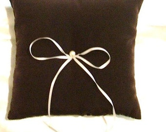 custom made dark chocolate brown ring bearer pillow