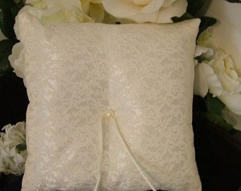 ring bearer pillow custom made white lace on ivory