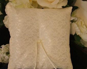 wedding ring bearer pillow custom made ivory lace on ivory