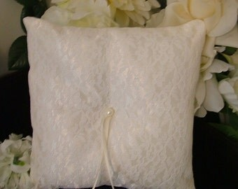 custom made white lace on ivory personlised ring bearer pillow