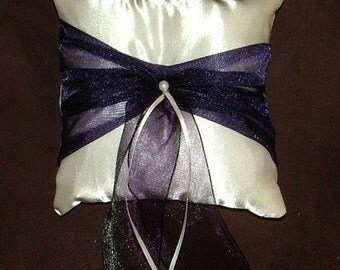 ring bearer pillow custom made ivory with purple