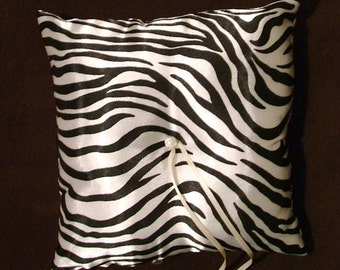 ring bearer pillow custom made black and white zebra