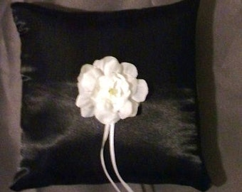 custom made black white satin personlised ring bearer pillow