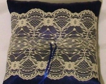 custom made satin ring bearer pillow with ivory lace on blue