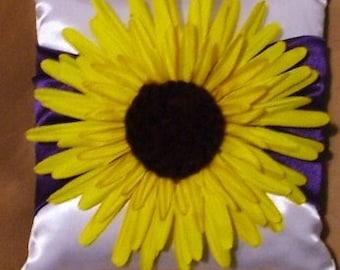 ring bearer wedding pillow sunflower on any color custom made