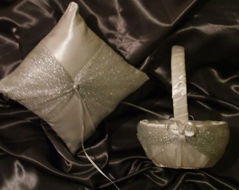 flower girl basket and ring bearer pillow silver on white or ivory satin