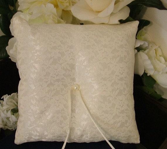 ring bearer pillow custom made white lace on ivory