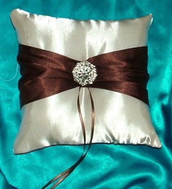 custom made ivory brown satin ring bearer pillow
