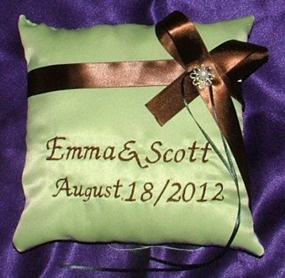 your choice any color satin ring bearer pillow with embroided names