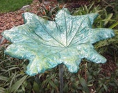 """RESERVED Yard-Garden Art-Bird Bath- Concrete Leaf Casting-Hand Sculpted 14""""round - Shipping Included"""