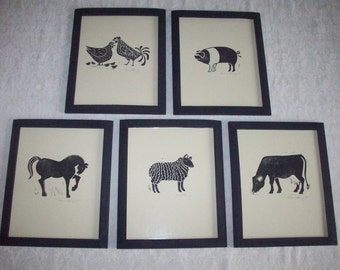 Prints--Five Farm Animals