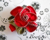 Beautiful vintage red and green zipper hair flower clip