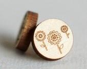 Laser Engraved Wooden Dandelion Studs