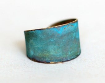 Blue Green Patina Verdigris Wide Brass Band Ring