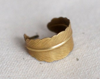 Raw Brass Feather Adjustable Wide Band Ring