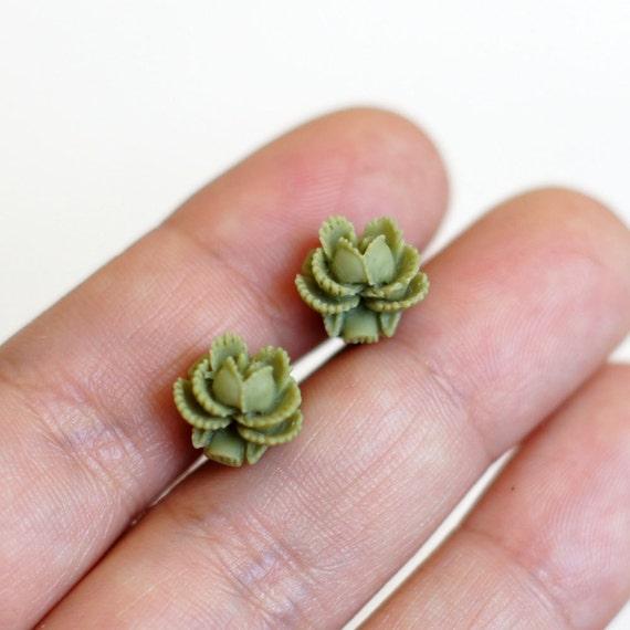 Olive Green Mini Flower Studs Earrings - Rosette