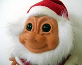vintage large smiling Christmas red and white Santa suit bearded troll doll by Russ