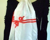 long Albert Nippon red and white vintage silk scarf.