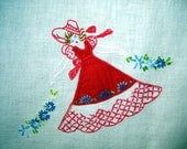 hand embroidered vintage applique red and white tablecloth
