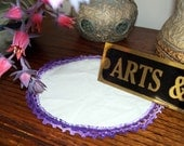 vintage crocheted doily white with lacy  purple edge