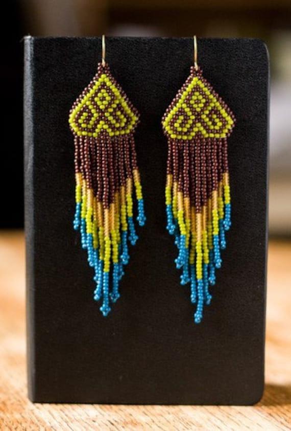 Native American style geometric chevron beaded earrings