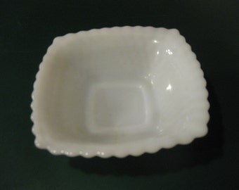 Candy Dish White Milk Glass Diamond Design