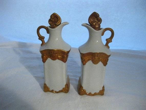 Vintage Oil and Vinegar White Gold Lustre Trim