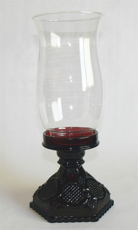 Avon Red Ruby Cape Cod Cottage Hurrican Lamp Candle 1876