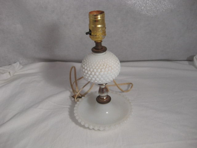 hobnail milk glass table lamp without shade