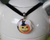 Vintage Image Pendant - Black Kitty in a Pumpkin