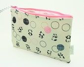 Pandas & Bubbles - Kawaii Zippered Pouch