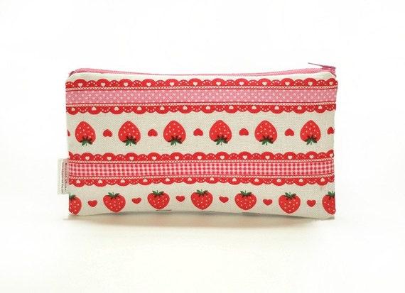 LIMITED SUPPLY - - - Strawberry Wonder in Pink - Kawaii Handmade Zipper Pouch
