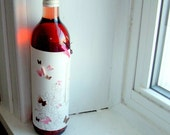 Butterfly wine bottle wrapper -  pink and brown on white